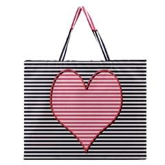 Heart Stripes Symbol Striped Zipper Large Tote Bag by Nexatart