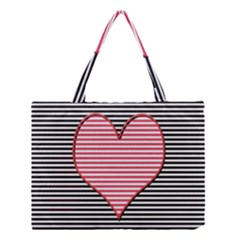 Heart Stripes Symbol Striped Medium Tote Bag by Nexatart