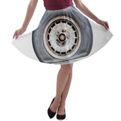 Flat Tire Vehicle Wear Street A Line Skater Skirt by Nexatart