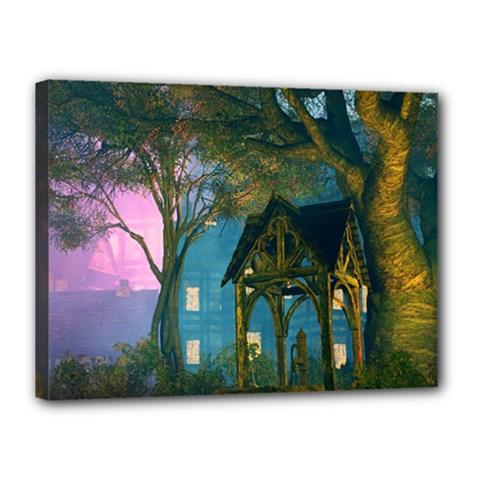 Background Forest Trees Nature Canvas 16  X 12  by Nexatart