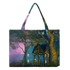 Background Forest Trees Nature Medium Tote Bag by Nexatart