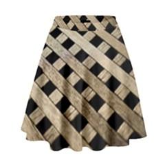 Texture Wood Flooring Brown Macro High Waist Skirt by Nexatart
