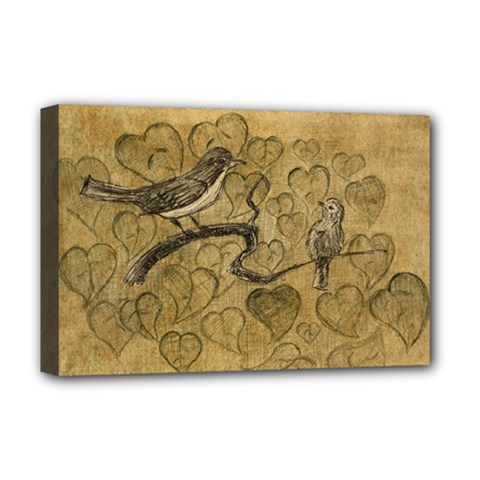 Birds Figure Old Brown Deluxe Canvas 18  X 12   by Nexatart