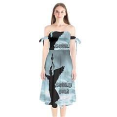 Berlin Shoulder Tie Bardot Midi Dress