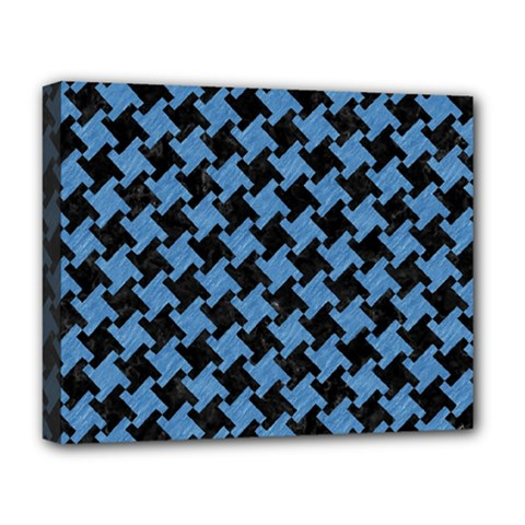 Houndstooth2 Black Marble & Blue Colored Pencil Deluxe Canvas 20  X 16  (stretched) by trendistuff