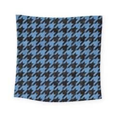 Houndstooth1 Black Marble & Blue Colored Pencil Square Tapestry (small) by trendistuff