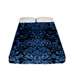 Damask2 Black Marble & Blue Colored Pencil Fitted Sheet (full/ Double Size) by trendistuff