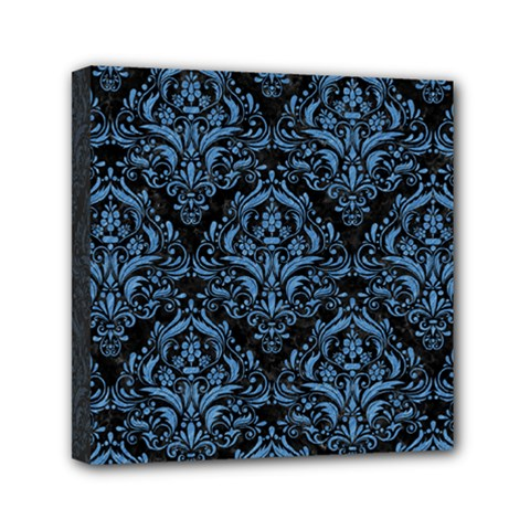 Damask1 Black Marble & Blue Colored Pencil Mini Canvas 6  X 6  (stretched) by trendistuff