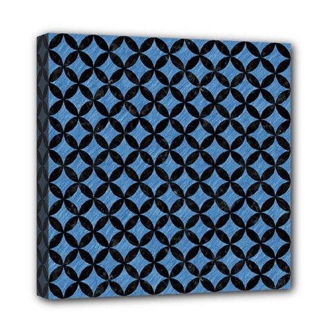 Circles3 Black Marble & Blue Colored Pencil (r) Mini Canvas 8  X 8  (stretched) by trendistuff