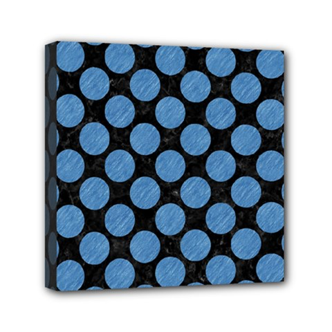 Circles2 Black Marble & Blue Colored Pencil Mini Canvas 6  X 6  (stretched) by trendistuff