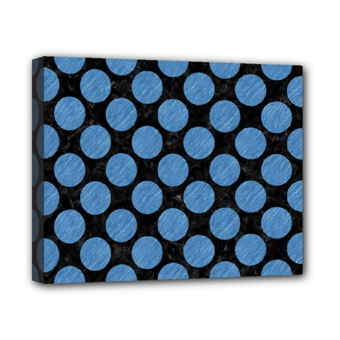 Circles2 Black Marble & Blue Colored Pencil Canvas 10  X 8  (stretched) by trendistuff