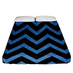 Chevron9 Black Marble & Blue Colored Pencil Fitted Sheet (california King Size) by trendistuff