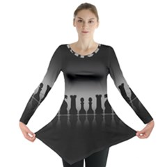 Chess Pieces Long Sleeve Tunic  by Valentinaart