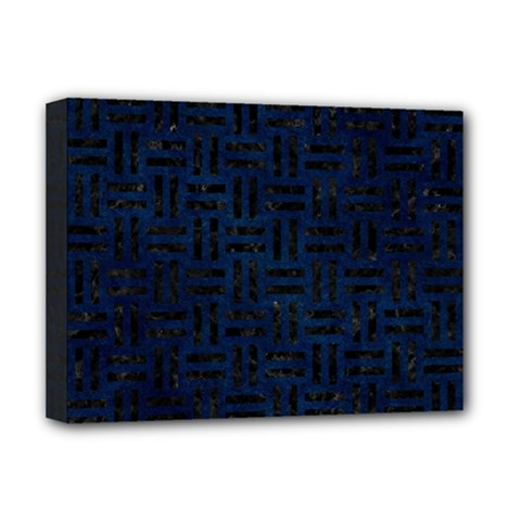 Woven1 Black Marble & Blue Grunge (r) Deluxe Canvas 16  X 12  (stretched)  by trendistuff