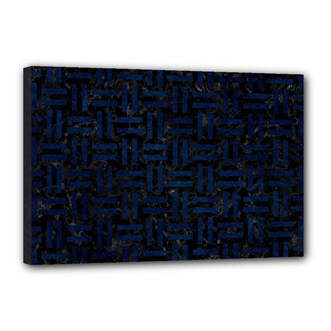Woven1 Black Marble & Blue Grunge Canvas 18  X 12  (stretched) by trendistuff