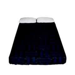 Woven1 Black Marble & Blue Grunge Fitted Sheet (full/ Double Size) by trendistuff