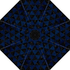 Triangle3 Black Marble & Blue Grunge Straight Umbrella by trendistuff