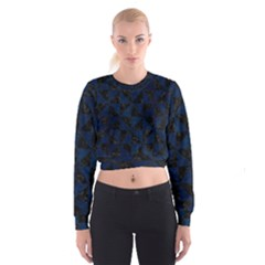 Triangle1 Black Marble & Blue Grunge Cropped Sweatshirt by trendistuff