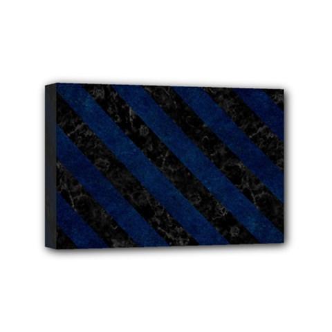 Stripes3 Black Marble & Blue Grunge (r) Mini Canvas 6  X 4  (stretched) by trendistuff