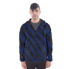Stripes3 Black Marble & Blue Grunge (r) Hooded Wind Breaker (men) by trendistuff