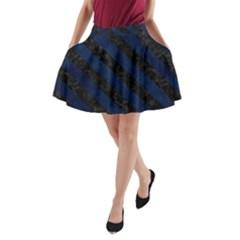 Stripes3 Black Marble & Blue Grunge (r) A Line Pocket Skirt by trendistuff