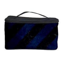 Stripes3 Black Marble & Blue Grunge Cosmetic Storage Case by trendistuff