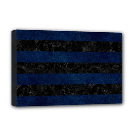 Stripes2 Black Marble & Blue Grunge Deluxe Canvas 18  X 12  (stretched) by trendistuff