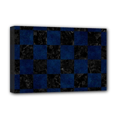 Square1 Black Marble & Blue Grunge Deluxe Canvas 18  X 12  (stretched) by trendistuff