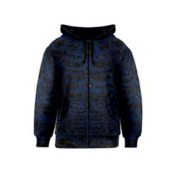 Skin2 Black Marble & Blue Grunge Kids  Zipper Hoodie by trendistuff