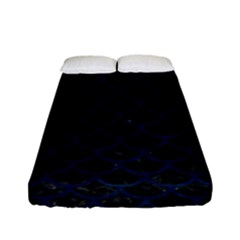 Scales1 Black Marble & Blue Grunge Fitted Sheet (full/ Double Size) by trendistuff