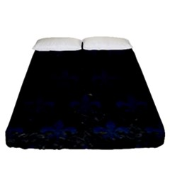 Royal1 Black Marble & Blue Grunge (r) Fitted Sheet (queen Size) by trendistuff
