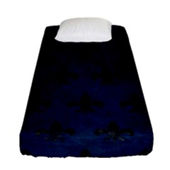 Royal1 Black Marble & Blue Grunge Fitted Sheet (single Size) by trendistuff