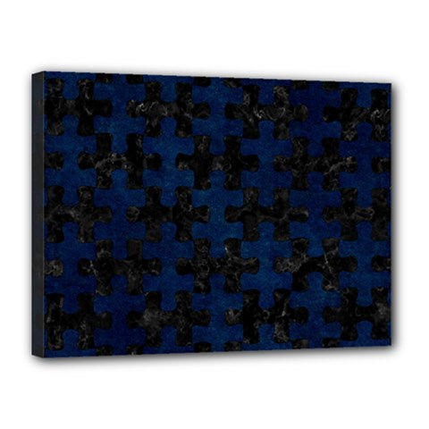 Puzzle1 Black Marble & Blue Grunge Canvas 16  X 12  (stretched) by trendistuff