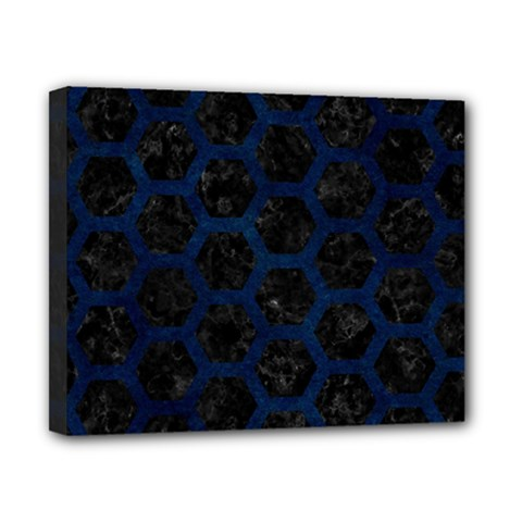 Hexagon2 Black Marble & Blue Grunge Canvas 10  X 8  (stretched) by trendistuff