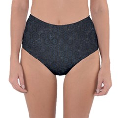 Hexagon1 Black Marble & Blue Grunge Reversible High Waist Bikini Bottoms