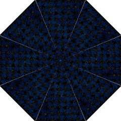 Houndstooth1 Black Marble & Blue Grunge Folding Umbrella by trendistuff