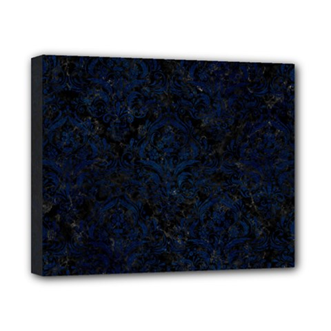 Damask1 Black Marble & Blue Grunge Canvas 10  X 8  (stretched) by trendistuff