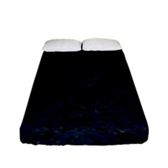Damask1 Black Marble & Blue Grunge Fitted Sheet (full/ Double Size) by trendistuff