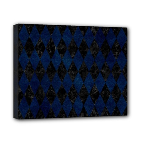 Diamond1 Black Marble & Blue Grunge Canvas 10  X 8  (stretched) by trendistuff