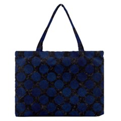 Circles2 Black Marble & Blue Grunge Medium Zipper Tote Bag by trendistuff