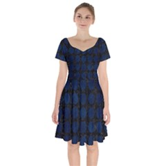 Circles1 Black Marble & Blue Grunge Short Sleeve Bardot Dress