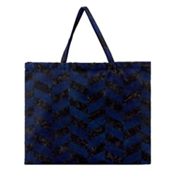 Chevron1 Black Marble & Blue Grunge Zipper Large Tote Bag by trendistuff