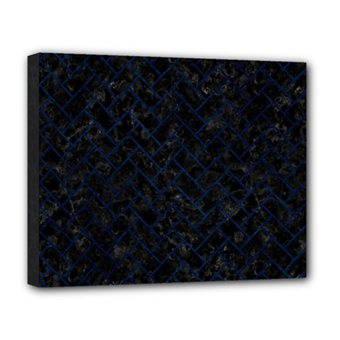 Brick2 Black Marble & Blue Grunge Deluxe Canvas 20  X 16  (stretched) by trendistuff