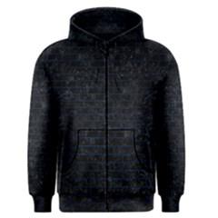 Brick1 Black Marble & Blue Grunge Men s Zipper Hoodie by trendistuff