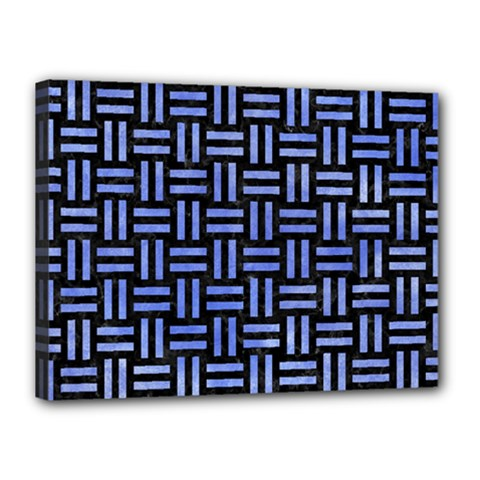 Woven1 Black Marble & Blue Watercolor Canvas 16  X 12  (stretched) by trendistuff