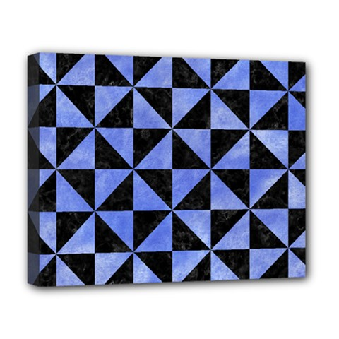 Triangle1 Black Marble & Blue Watercolor Deluxe Canvas 20  X 16  (stretched) by trendistuff