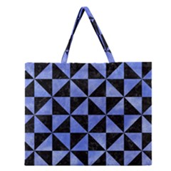 Triangle1 Black Marble & Blue Watercolor Zipper Large Tote Bag by trendistuff