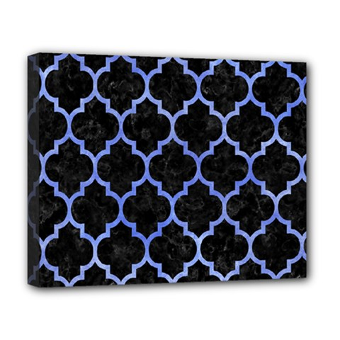 Tile1 Black Marble & Blue Watercolor Deluxe Canvas 20  X 16  (stretched) by trendistuff