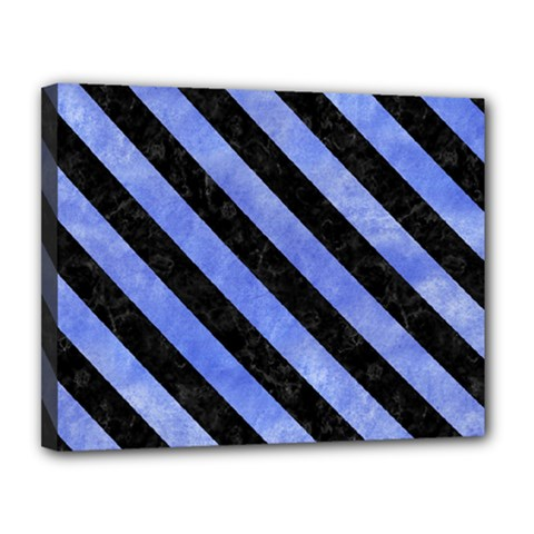 Stripes3 Black Marble & Blue Watercolor (r) Canvas 14  X 11  (stretched) by trendistuff