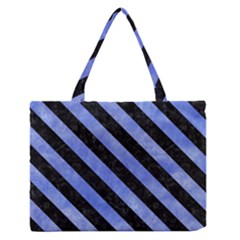 Stripes3 Black Marble & Blue Watercolor (r) Medium Zipper Tote Bag by trendistuff